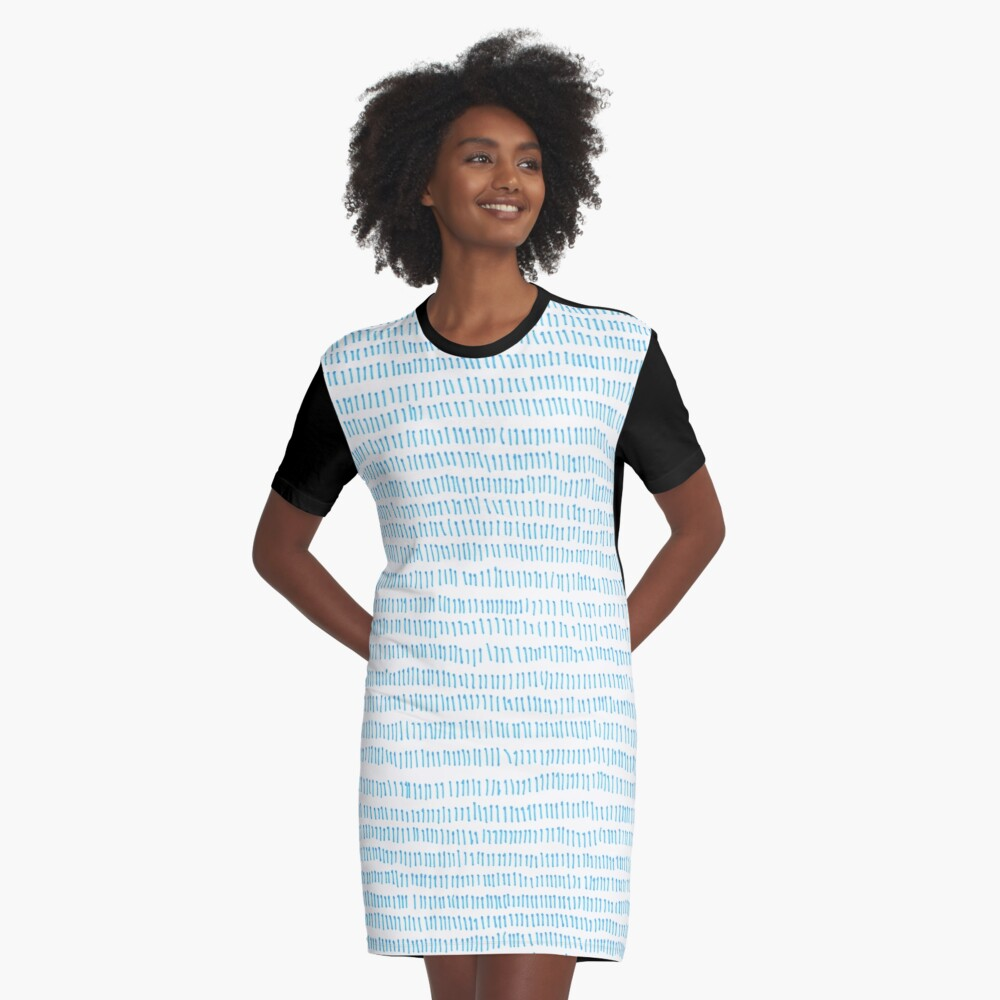 Blue grass - a handmade pattern Graphic T-Shirt Dress