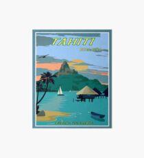 TAHITI : Vintage Travel to Bora Bora Advertising Print Art Board Print