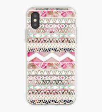 Girly rosa weißes abstraktes aztekisches mit Blumenmuster iPhone-Hülle & Cover