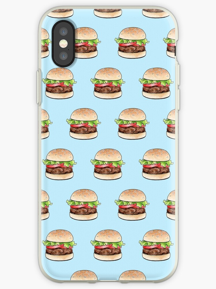 Rows of burgers on pale blue by Hazel Fisher