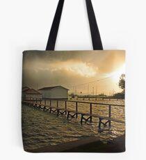 Mosman Bay Boatsheds At Dawn  Tote Bag