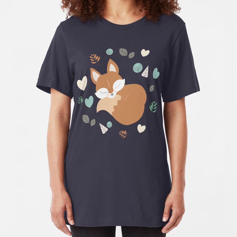 Sleepy Fox Pattern in The Cartoon Woodland Slim Fit T-Shirt