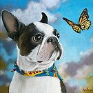 Oliver - dog pet portrait oil painting by LindaAppleArt