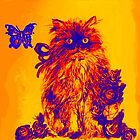 YELLOW CAT KITTEN ,BUTTERFLY AND BLUE  ROSES Orange Purple by BulganLumini