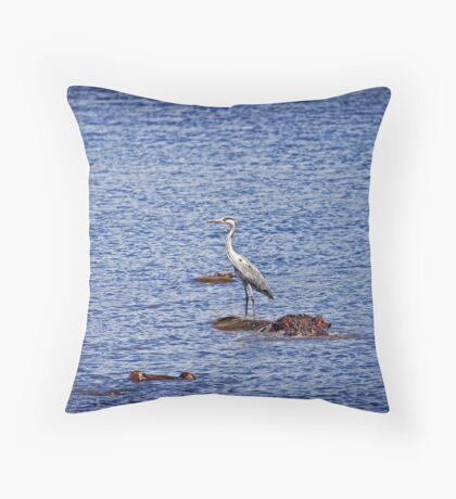Hippo & Heron Throw Pillow