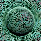 Green Singularity - Abstract Swirling Globe by Ryan Livingston