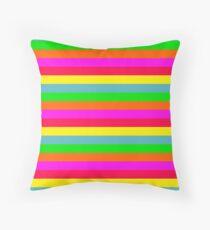 Neon Hawaiian Horizontal Rainbow Cabana Stripes Floor Pillow