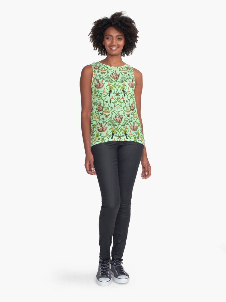 Alternate view of Sloth and Butterflies Sleeveless Top