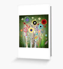 Green Mediterranean garden Landscaping and Landscape design - lime green decor botanical art  Greeting Card