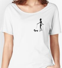 Flaunting The Pooch (violet) - Dachshund Sausage Dog Women's Relaxed Fit T-Shirt