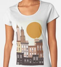 An abstract, cartoon urban, city vector illustration with skyscrapers.  Women's Premium T-Shirt