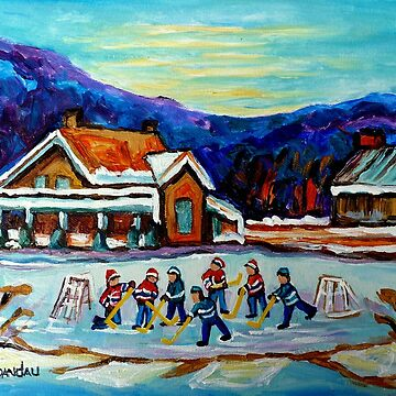 POND HOCKEY PAINTINGS BLUE MOUNTAINS WINTER SCENE COUNTRY CABIN LANDSCAPE CANADIAN ART by CaroleSpandau