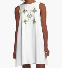 Green Flourishes A-Line Dress