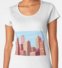 Sun rising and a city wakes up vector illustration design. Women's Premium T-Shirt