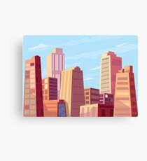 Sun rising and a city wakes up vector illustration design. Canvas Print