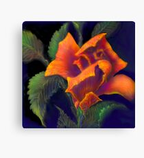 'Orange Delight' Digital Rose Painting, Baroque Roses Canvas Print