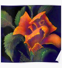 'Orange Delight' Digital Rose Painting, Baroque Roses Poster