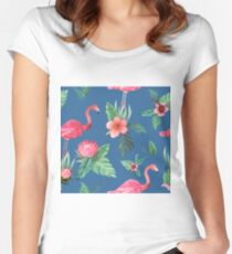 Flamingo Watercolor painting with Protea, Hibiscus and Palms by MagentaRose Women's Fitted Scoop T-Shirt