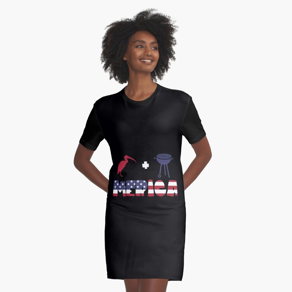 Curlew plus Barbeque Merica American Flag Vestido camiseta
