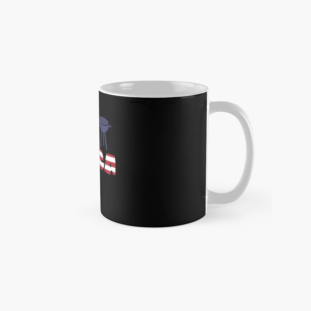 Curlew plus Barbeque Merica American Flag Taza