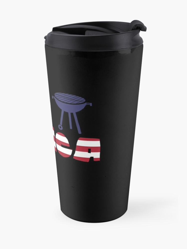 Vista alternativa de Taza de viaje Curlew plus Barbeque Merica American Flag