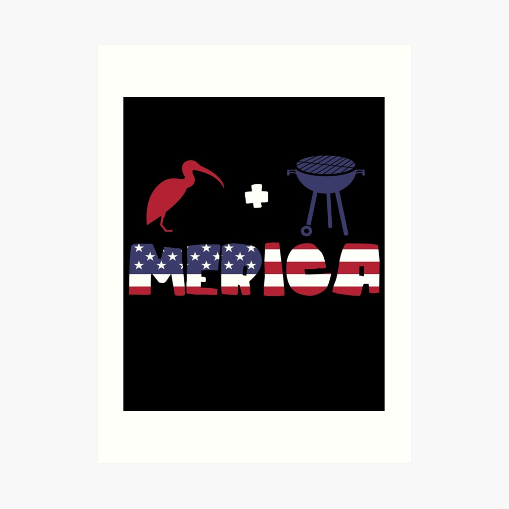 Curlew plus Barbeque Merica American Flag Lámina artística