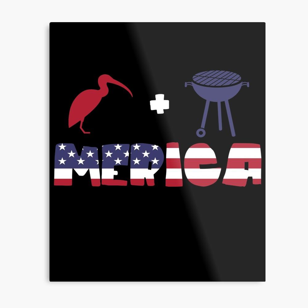 Curlew plus Barbeque Merica American Flag Lámina metálica