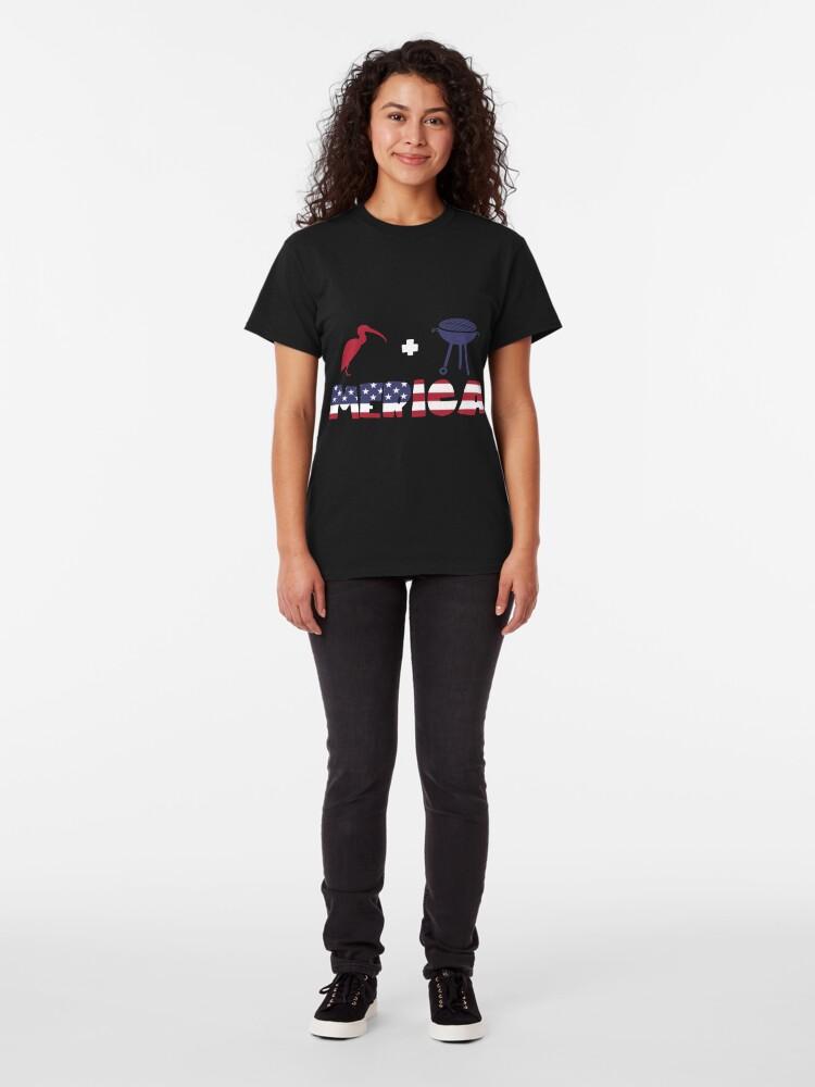 Vista alternativa de Camiseta clásica Curlew plus Barbeque Merica American Flag