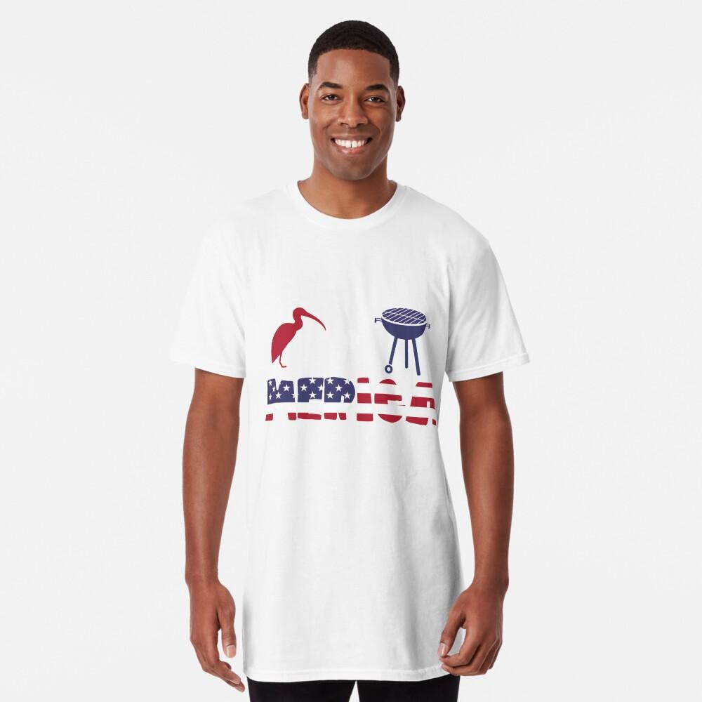 Curlew plus Barbeque Merica American Flag Camiseta larga