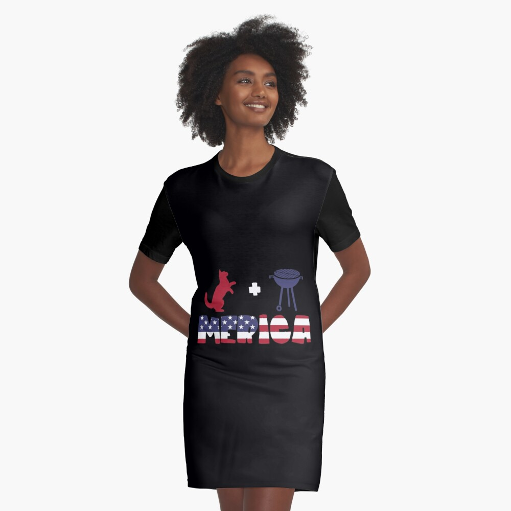 Funny Cat plus Barbeque Merica American Flag Vestido camiseta
