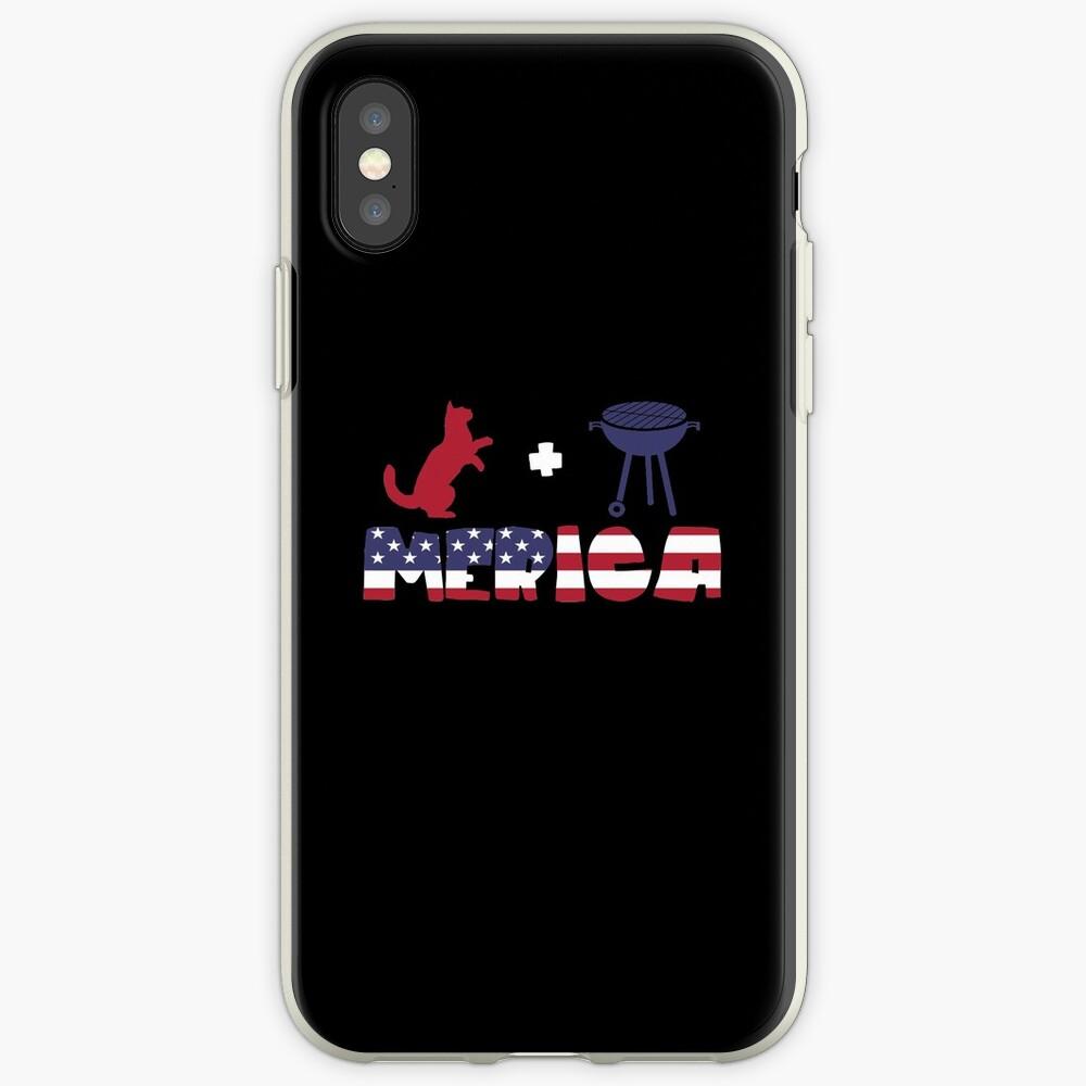 Funny Cat plus Barbeque Merica American Flag Funda y vinilo para iPhone