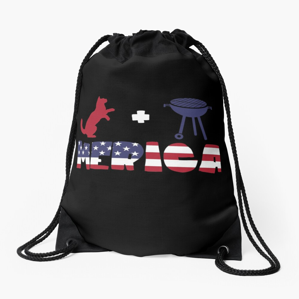 Funny Cat plus Barbeque Merica American Flag Mochila saco