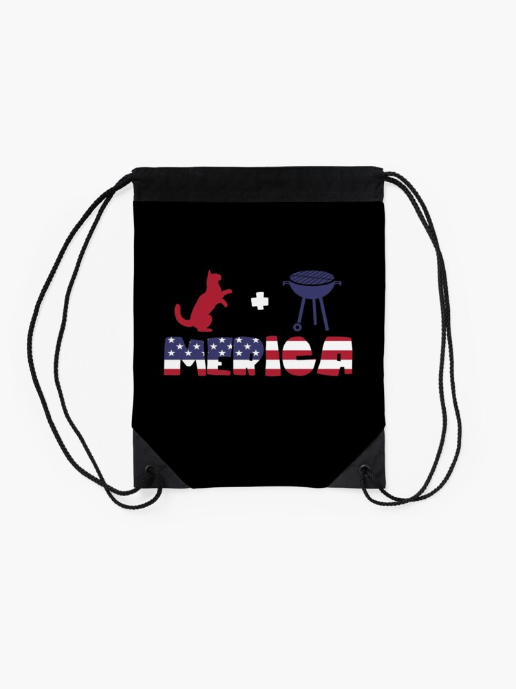 Vista alternativa de Mochila saco Funny Cat plus Barbeque Merica American Flag