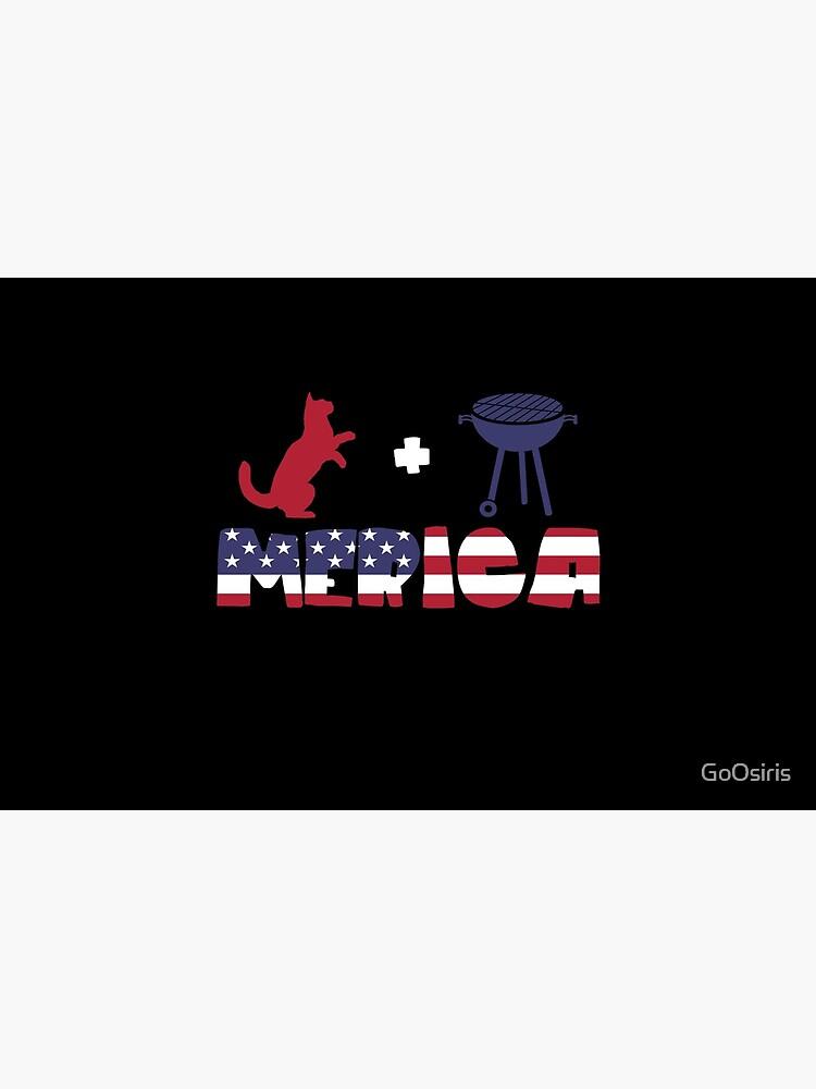 Funny Cat plus Barbeque Merica American Flag de GoOsiris