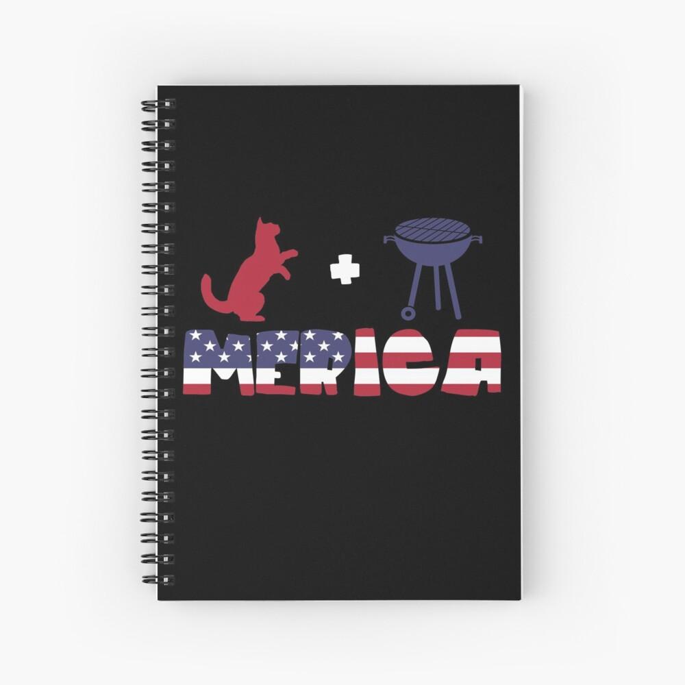 Funny Cat plus Barbeque Merica American Flag Cuaderno de espiral