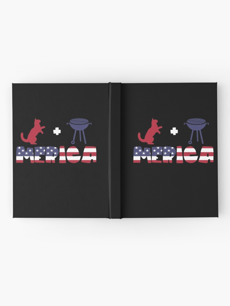 Vista alternativa de Cuaderno de tapa dura Funny Cat plus Barbeque Merica American Flag
