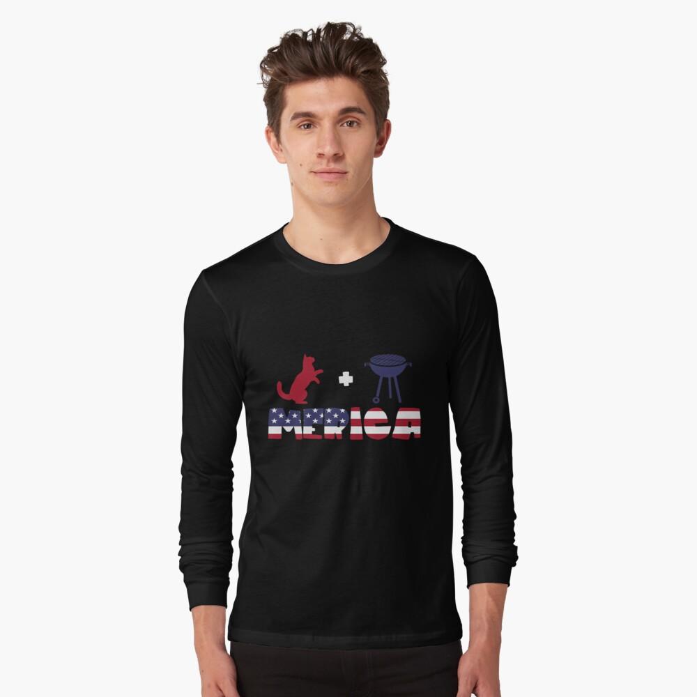 Funny Cat plus Barbeque Merica American Flag Camiseta de manga larga