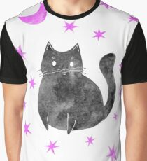 Black Cat with Pink Stars Graphic T-Shirt