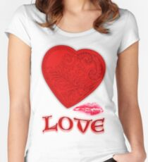 Victorian Heart with a Kisss Tailliertes Rundhals-Shirt