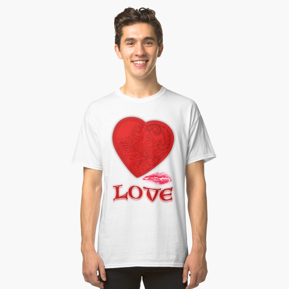 Victorian Heart with a Kisss Classic T-Shirt Vorne