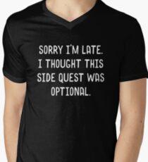 Camiseta de cuello en V Lo siento, llegué tarde. Pensé que esta misión lateral era opcional Meme Funny Tabletop RPG