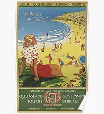 Queensland, Australia Vintage Travel Poster Poster
