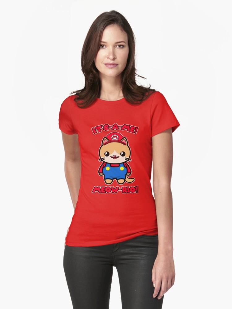 Cute Cat Kawaii Funny Mario Parody Womens T-Shirt Front