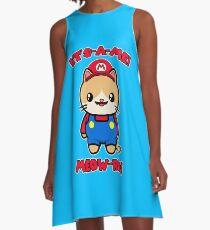 Cute Cat Funny Kawaii Mario Parody A-Line Dress