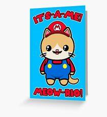 Cute Cat Funny Kawaii Mario Parody Greeting Card