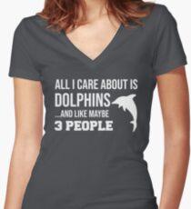 Cute Dolphin Lover Gift Shirt For Men Women Kids Women's Fitted V-Neck T-Shirt