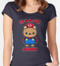 Bear Cute Funny Kawaii Mario Parody Women's Fitted Scoop T-Shirt