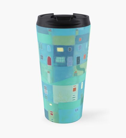 Blue town from the steps Travel Mug