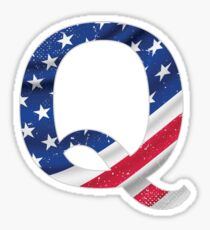 Qanon Letter Q Anon with USA flag The Great Awakening the storm is here prints white on MAGA red background Sticker