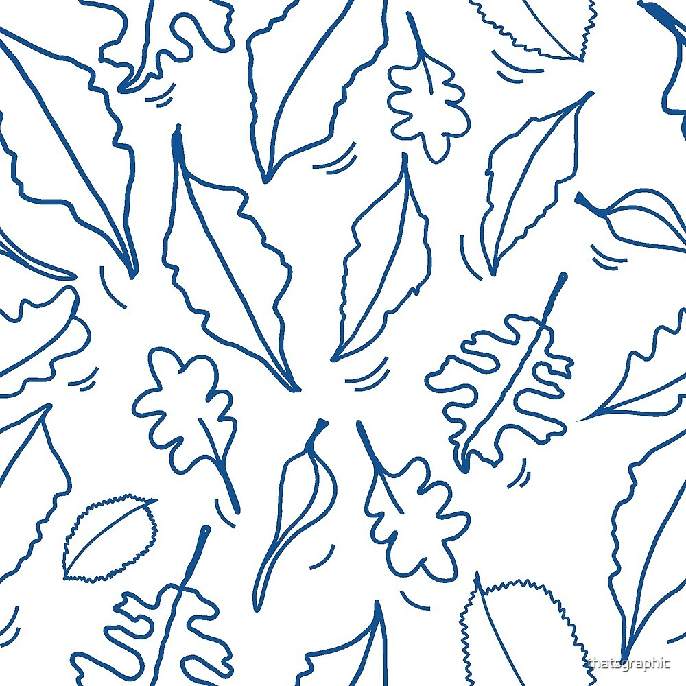 Hand drawn leaves blue and white by thatsgraphic